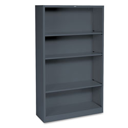 "Hon Metal Bookcase, 59"" High, Three Adjustable, One Fixed Shelf, Charcoal"
