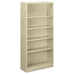 "Hon Metal Bookcase, 5 Shelves, 34 1/2""x12 5/8""x71"", Putty"