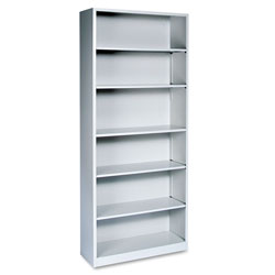 "Hon Metal Bookcase, 81 1/8"" High, Five Adjustable, One Fixed Shelf, Light Gray"