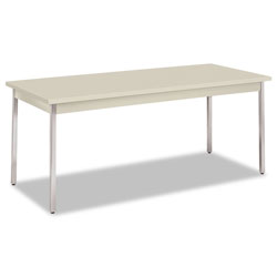 "Hon Non Folding Utility Table, Chrome Legs, Laminate Top, 72""x30"", Light Gray"