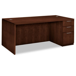 Hon Arrive Single Pedestal Desk, Right, Shaker Cherry