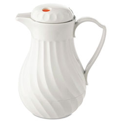 Hormel Poly Lined White Swirl Design Carafe, 64 oz. Capacity