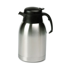 Hormel Stainless Steel Lined Vacuum Carafe, 1.9 Liter, Satin Finish/Black Trim