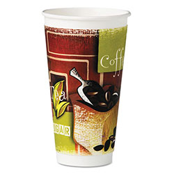 Chinet Insulated Hot Cups, Paper, 20 oz, Green/Brown/White, 28/Bag, 15 Bags/Carton