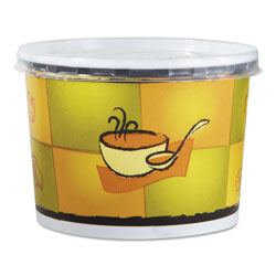 Chinet Streetside Squat Paper Food Container with Lid, Streetside Design, 12 oz