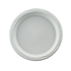 "Chinet Disposable 10.25"" Plastic Plates, White, Case of 500"