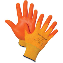 Honeywell Tuff-Glo Nylon Gloves, Large, Dipped, Orange