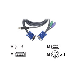 IOGEAR Intelligent KVM Cable - Keyboard / Video / Mouse (KVM) Cable - DB-15, 6 Pin PS/2 (M) - 4 Pin USB Type A, DB-15 (M) - 6'
