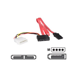 Startech Slimline SATA Female To SATA With LP4 Power Cable Adapter - Serial ATA / SAS Cable - 1.7 Ft