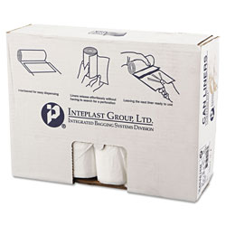 "Inteplast High Density Clear Flat-Bottom Trash Bags, 45 Gallon, 16 Micron, 40"" x 48"", 10 Rolls of 25"