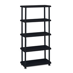 "Iceberg Open Shelving Unit, 36"" x 18"", 5 Shelves, Black"