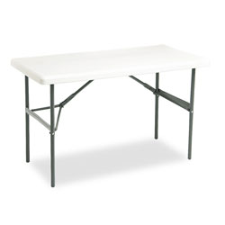 Iceberg Indestruc Tables Too Rectangular Folding Table, 48 x 24, Platinum Finish Top