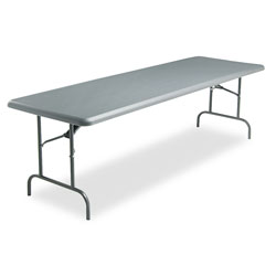 Iceberg Indestruc Tables Too Rectangular Folding Table, 96 x 30, Charcoal Finish Top