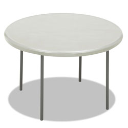 "Iceberg Indestruc Tables Too Folding Table, 48"" Round, Polyethylene/Steel, Platinum"