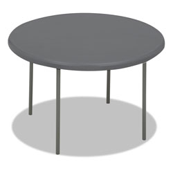 "Iceberg Indestruc Tables Too Folding Table, 48"" Round, Polyethylene/Steel, Charcoal"