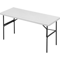 "Iceberg Indestruc Tables Too Rectangular Folding Table, 24 x 60"", Platinum"