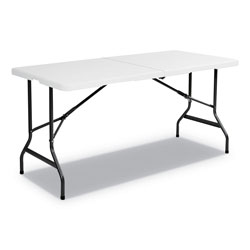 Iceberg Indestruc Tables Too Bi Fold Table, 60 x 30 x 29, Polyethylene/Steel, Platinum
