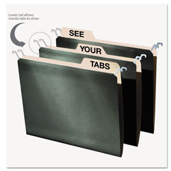 Ideastream Hanging File Folders with Innovative Top Rail, Letter, Green, 25/Bx