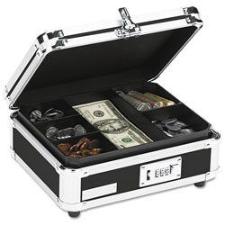 "Ideastream Cash Box, F/Bills and Coins, 10""x8 3/4""x5"", Black/Chrome"