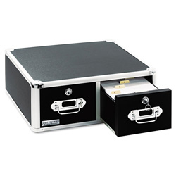 Ideastream 3,000-Card Capacity Vaultz Locking 5 x 3 Two-Drawer Index Card Box, Black