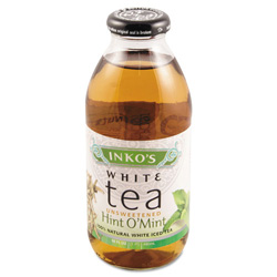 Inko's Ready-To-Drink Unsweetened Hint 'O Mint White Tea, 16 oz Bottle, 12/Carton
