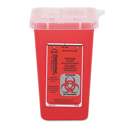 "United 7350 One Quart Sharps Container, 4 1/2"" x 4 1/2"" x 6 3/4"""