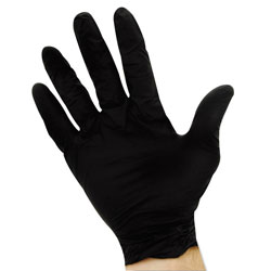 Impact ProGuard 4 mil Disposable Nitrile Gloves, Powder-Free, Black, Large