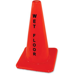 Impact Safety Cone Sign, Wet Floor, Orange