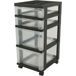 "Iris Mini Chests, 4-Drawer, 12-1/16"" x 14-1/4"" x 26-7/16"", Black"