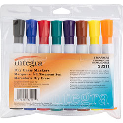 Integra Dry-Erase Marker with Chisel Tip, 8/pack, BK/BE/RD/GN/BN/Ywith OE/PE