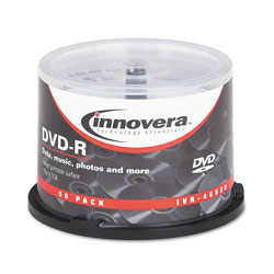 Innovera DVD-R Discs, Hub Printable, 4.7GB, 16x, Spindle, Matte White, 50/Pack
