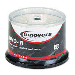 Innovera DVD+R Recordable Discs On Spindle, 4.7 GB, Silver
