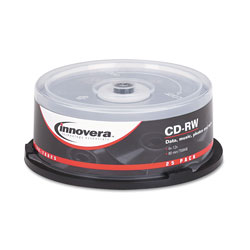 Innovera CD-RW Discs, 700MB/80min, 12x, Spindle, Silver, 25/Pack
