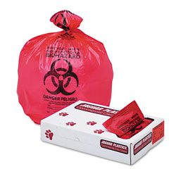 "Jaguar Plastics Health Care ""Biohazard"" Printed Liners, 1.3mil, 33 x 39, Red, 150/Carton"