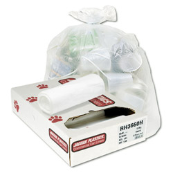 Jaguar Plastics High Density Clear Flat-Bottom Trash Bags, 30 Gallon, 10 Micron, 20 Rolls of 25