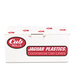 "Jaguar Plastics Cub Commercial Low-Density Roll Can Liners, .5 mil, 24"" x 32"", White, 250/Carton"