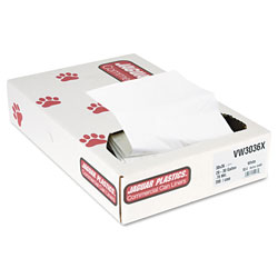 Jaguar Plastics Industrial Strength Commercial Can Liners, 30gal, .7mil, White, 200/Carton