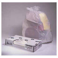 Jaguar Plastics Value-Can White Flat-Bottom Trash Bags, 56 Gallon, 0.75 Mil, Case of 100