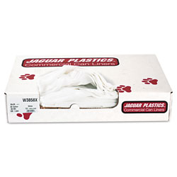 Jaguar Plastics Industrial Strength Commercial Can Liners, 60gal, .9mil, White, 100/Carton