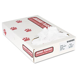 Jaguar Plastics Industrial Strength Commercial Can Liners, 45gal, .9mil, White, 100/Carton