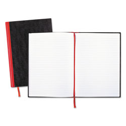 Black N' Red Casebound Notebook with Hardcover, Ruled, Black, 11 3/4 x 8 1/4