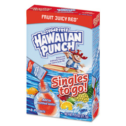 Hawaiian Punch Drink Mix Singles, Fruit Juicy Red, 0.75 oz Stick, 8/Box