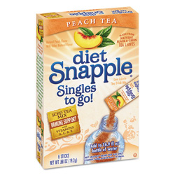 Snapple Iced Tea Singles To-Go, Diet Peach Tea, 0.68 oz Stick, 72 sticks
