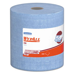 WypAll* X90 Cloths, Jumbo Roll, 11 1/10 x 13 2/5, Denim Blue, 450/Roll, 1 Roll/Carton