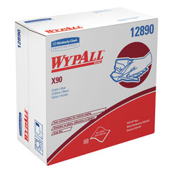 WypAll* X90 Cloths, POP-UP Box, 8 3/10 x 16 4/5, Denim Blue, 68/Box, 5 Boxes/Carton