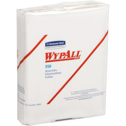 WypAll* X50 Cloths, 1/4 Fold, 10 x 12 1/2, White, 26/Pack, 32 Packs/Carton