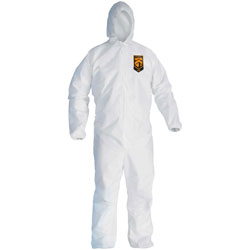 KleenGuard* A30 Elastic-Back & Cuff Hooded Coveralls, White, 2X-Large, 25/Case