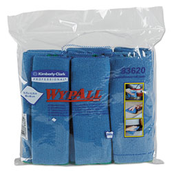 WypAll* Microfiber Cloths, Reusable, 15 3/4 x 15 3/4, Blue, 24/Carton
