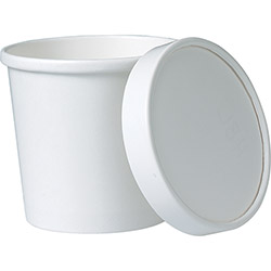 Solo 12 oz White Paper Food Container with Paper Lid Combo