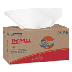 WypAll® L40 Cleaning Wipes, White, 9 Boxes of 90